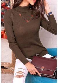 IVET - Golf damski TAMARIDA KHAKI. Typ kołnierza: golf. Kolor: brązowy