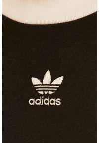 Czarna bluzka adidas Originals z aplikacjami, z okrągłym kołnierzem