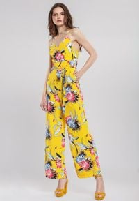 Renee - Żółty Kombinezon Reassured. Kolor: żółty. Materiał: materiał. Długość rękawa: na ramiączkach. Długość: długie. Wzór: kwiaty