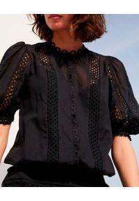 CHARO RUIZ IBIZA - Czarna bluzka Estela. Kolor: czarny. Materiał: koronka, bawełna. Styl: wakacyjny