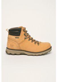 Żółte buty trekkingowe CATerpillar z cholewką, na sznurówki