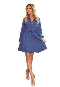 Numoco - Koszulowa Sukienka z Bufiastym Rękawem - Niebieska. Kolor: niebieski. Materiał: bawełna, elastan. Typ sukienki: koszulowe