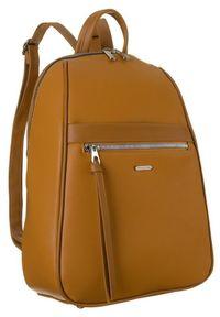 DAVID JONES - Plecak damski musztardowy David Jones CM6025 MUSTARD. Kolor: żółty. Materiał: skóra ekologiczna