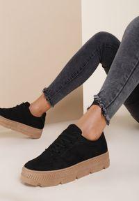 Renee - Czarne Sneakersy Riparian Rights. Nosek buta: okrągły. Zapięcie: sznurówki. Kolor: czarny. Szerokość cholewki: normalna. Wzór: jednolity. Sezon: jesień, wiosna