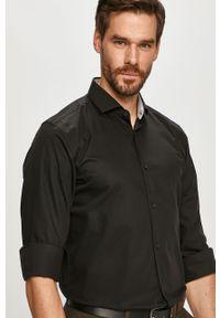 Czarna koszula Hugo gładkie, z włoskim kołnierzykiem, z długim rękawem