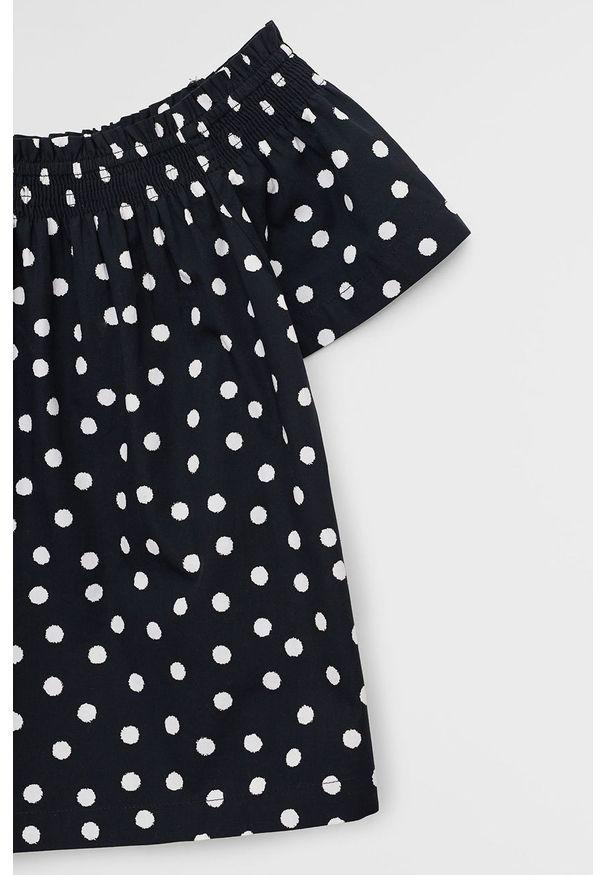 Czarna bluzka Mango Kids na co dzień, krótka, casualowa, z dekoltem typu hiszpanka