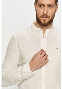 Biała koszula Tommy Jeans gładkie, ze stójką, długa, casualowa