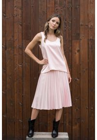 Różowa spódnica VEVA casualowa, do pracy