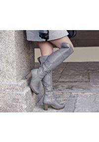 Szare kozaki Zapato z cholewką za kolano, klasyczne, na jesień, na randkę