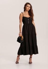 Renee - Czarna Sukienka Aezlenne. Kolor: czarny. Długość rękawa: na ramiączkach. Długość: midi