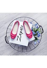 Różowe baleriny Zapato na co dzień, wąskie, w kwiaty