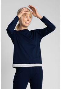 MOE - Bluzka od Piżamy Wykończona Koronką - Granatowa. Kolor: niebieski. Materiał: koronka. Wzór: koronka