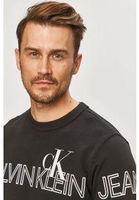 Czarna bluza nierozpinana Calvin Klein Jeans casualowa, bez kaptura, z nadrukiem