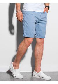 Ombre Clothing - Krótkie spodenki męskie casual W303 - błękitne - XXL. Okazja: na co dzień. Kolor: niebieski. Materiał: elastan, tkanina, bawełna. Długość: krótkie. Sezon: lato. Styl: casual