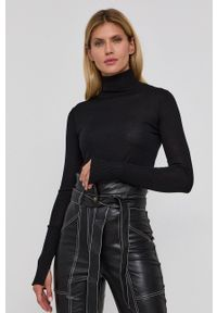 Patrizia Pepe - Sweter wełniany. Typ kołnierza: golf. Kolor: czarny. Materiał: wełna. Długość rękawa: długi rękaw. Długość: długie