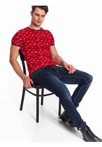 Czerwony t-shirt TOP SECRET na co dzień, wizytowy, krótki, z krótkim rękawem