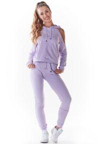 Infinite You - Dresowe Spodnie z Cienkiej Dzianiny - Purpurowe. Kolor: fioletowy. Materiał: dresówka, dzianina
