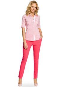 MOE - Klasyczna Koszula z Krótkim Rękawem - Malinowy. Kolor: różowy. Materiał: elastan, wiskoza, poliester. Długość rękawa: krótki rękaw. Długość: krótkie. Styl: klasyczny