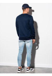 Ombre Clothing - Bluza męska bez kaptura B978 - granatowa - XXL. Okazja: na co dzień. Typ kołnierza: bez kaptura. Kolor: niebieski. Materiał: poliester, materiał, bawełna. Styl: klasyczny, casual