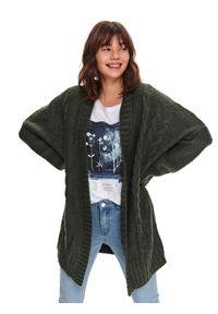 Zielony sweter TOP SECRET długi, w kolorowe wzory, casualowy