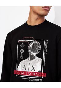 Armani Exchange - ARMANI EXCHANGE - Czarna bluza z haftowanym logo. Okazja: na co dzień. Kolor: czarny. Materiał: jeans, prążkowany, bawełna. Długość rękawa: długi rękaw. Długość: długie. Wzór: haft. Styl: casual, klasyczny