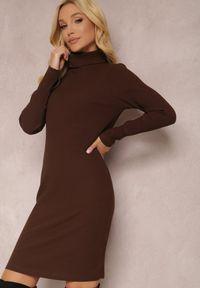 Renee - Brązowa Sukienka Calynne. Typ kołnierza: golf. Kolor: brązowy. Materiał: dzianina, prążkowany. Długość rękawa: długi rękaw. Wzór: jednolity. Styl: klasyczny. Długość: mini