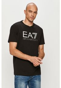 Czarny t-shirt EA7 Emporio Armani z nadrukiem, casualowy