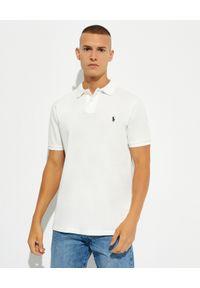 Ralph Lauren - RALPH LAUREN - Biała koszulka Slim Fit. Typ kołnierza: polo. Kolor: biały. Materiał: bawełna, prążkowany. Wzór: haft. Styl: klasyczny