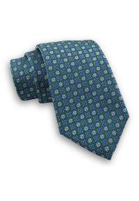 Zielony Męski Stylowy Krawat -Chattier- 7,5cm, Klasyczny, w Niebieskie Kwiatki, Szeroki. Kolor: niebieski. Materiał: tkanina. Wzór: kwiaty. Styl: klasyczny, elegancki