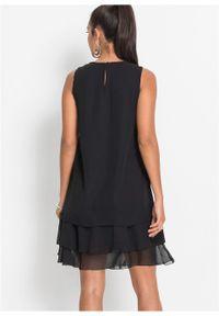 Czarna sukienka bonprix elegancka, bez rękawów