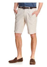 Beżowe szorty TOP SECRET casualowe, na lato, w kolorowe wzory, na co dzień