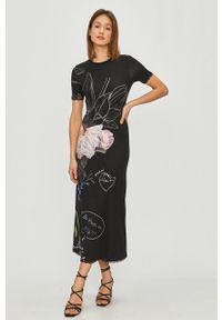 Czarna sukienka Desigual casualowa, w kwiaty, prosta, maxi