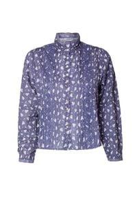 LoveShackFancy - Koszula LOVESHACKFANCY SINCLAIR. Materiał: koronka, prążkowany, denim, tkanina. Wzór: kwiaty, haft, nadruk, koronka, aplikacja