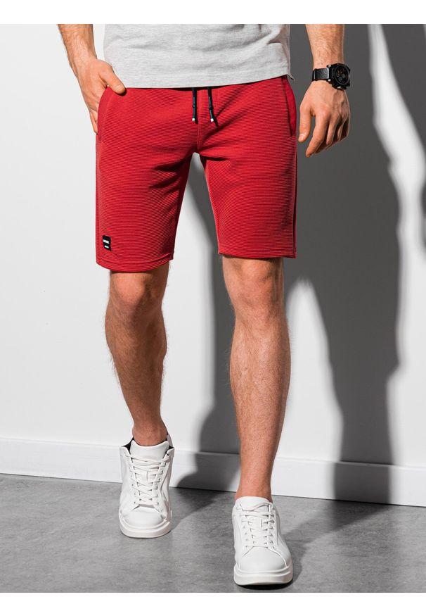 Ombre Clothing - Krótkie spodenki męskie dresowe W294 - czerwone - XXL. Kolor: czerwony. Materiał: dresówka. Długość: krótkie. Styl: klasyczny, sportowy