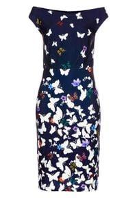 Sukienka bonprix ciemnoniebieski w kwiaty. Kolor: niebieski. Wzór: kwiaty. Styl: elegancki