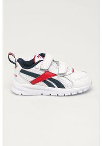 Białe buty sportowe Reebok z okrągłym noskiem, z cholewką, na rzepy
