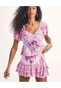 LOVE SHACK FANCY - Różowa spódnica z haftem Cairo. Kolor: fioletowy, różowy, wielokolorowy. Materiał: bawełna. Wzór: haft