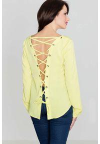 Żółta bluzka z długim rękawem Katrus z dekoltem na plecach