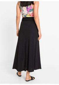 Spódnica z dżerseju z efektem założenia kopertowego bonprix czarny. Kolor: czarny. Materiał: jersey