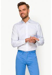 Biała koszula Lancerto ze splotem, klasyczna