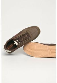 Brązowe sneakersy U.S. Polo Assn z cholewką, na sznurówki, z okrągłym noskiem