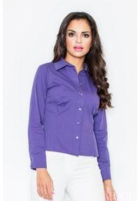 Figl - Ciemnofioletowa Klasyczna Koszula z Długim Rękawem. Kolor: fioletowy. Materiał: lycra, nylon, bawełna. Długość rękawa: długi rękaw. Długość: długie. Styl: klasyczny