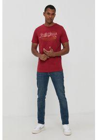 Premium by Jack&Jones - T-shirt bawełniany. Okazja: na co dzień. Kolor: czerwony. Materiał: bawełna. Wzór: nadruk. Styl: casual