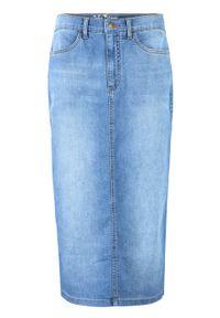 Spódnica dżinsowa z poliestru z recyklingu bonprix niebieski. Kolor: niebieski. Materiał: poliester