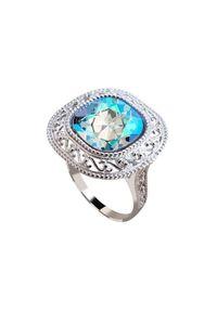 Srebrny pierścionek z kryształem, srebrny, z aplikacjami
