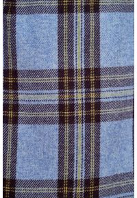 Marie Zélie - Spódnica Leto wełna w kratę niebieska z fioletem. Kolor: niebieski. Materiał: wełna