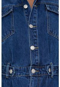 Answear Lab - Kombinezon jeansowy. Okazja: na co dzień. Kolor: niebieski. Materiał: jeans. Długość rękawa: długi rękaw. Długość: długie. Styl: wakacyjny