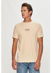 Beżowy t-shirt Scotch & Soda z nadrukiem, z okrągłym kołnierzem, casualowy