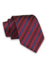 Alties - Czerwono-Granatowy Elegancki Męski Krawat -ALTIES- 7cm, Stylowy, Klasyczny, w Paski, Prążki. Kolor: niebieski, czerwony, wielokolorowy. Materiał: tkanina. Wzór: prążki, paski. Styl: klasyczny, elegancki