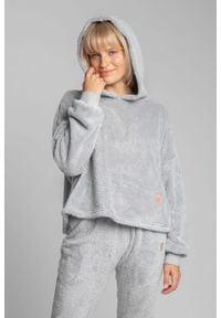 MOE - Pluszowa Bluza z Kapturem - Popielata. Kolor: szary. Materiał: poliester
